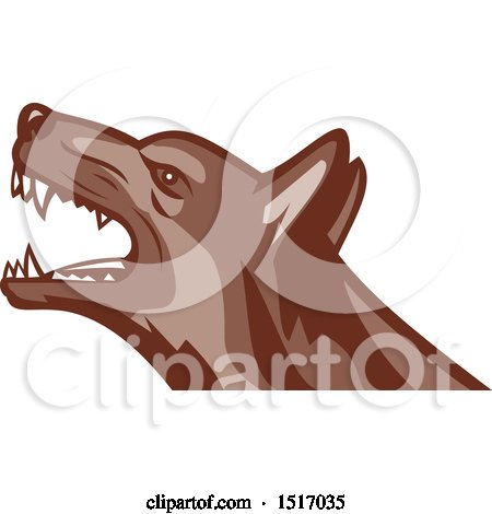 Clipart of an Angry German Shepherd Guard Dog - Royalty Free Vector Illustration by patrimonio