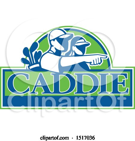 Clipart of a Silhouetted Caddy and Golfer Pointing over Text - Royalty Free Vector Illustration by patrimonio