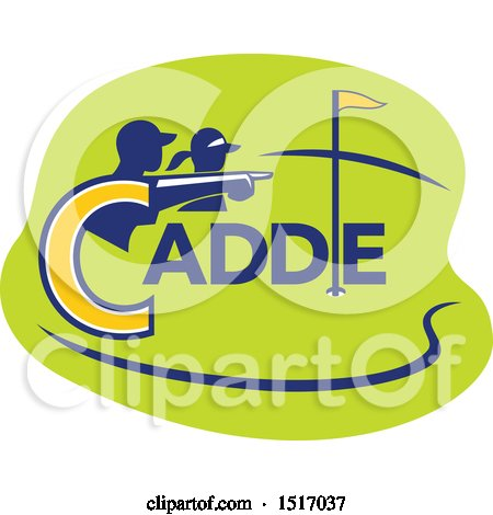 Clipart of a Silhouetted Caddy and Golfer Pointing over a Course - Royalty Free Vector Illustration by patrimonio