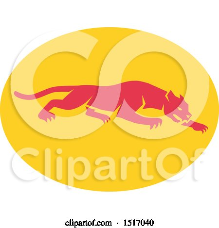 Clipart of a Prowling Panther on a Yellow Oval - Royalty Free Vector Illustration by patrimonio