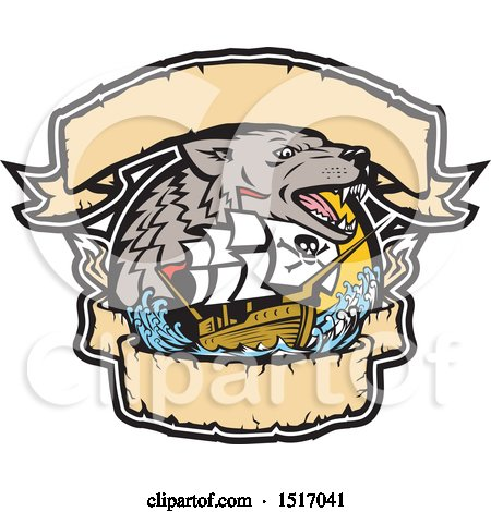 Clipart of a Galleon Pirate Ship with a Sea Wolf and Banners - Royalty Free Vector Illustration by patrimonio
