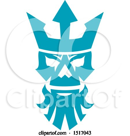 Clipart of a Poseidon or Neptune Skull with a Crown - Royalty Free Vector Illustration by patrimonio