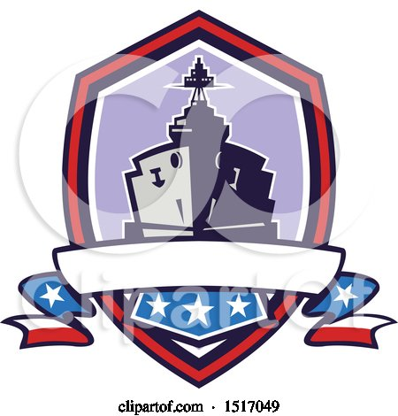 Clipart of a Retro Crest with a Battleship with Stars and Stripes Flags - Royalty Free Vector Illustration by patrimonio