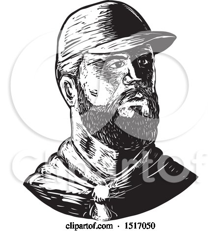 Clipart of a Bearded Chef Wearing a Baseball Cap, in Black and White Woodcut - Royalty Free Vector Illustration by patrimonio
