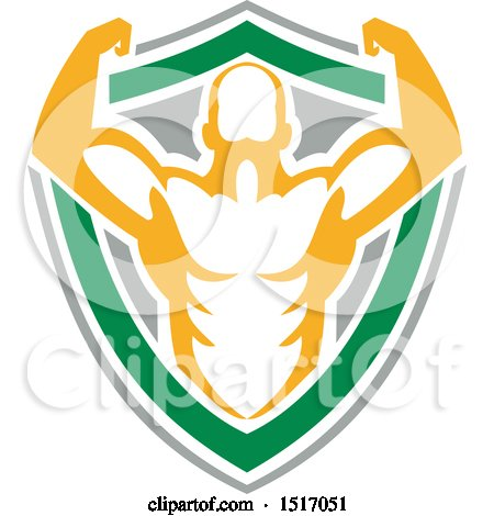 Clipart of a Strongman or Bodybuilder Flexing in a Shield - Royalty Free Vector Illustration by patrimonio