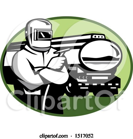 Clipart of a Retro Tig Welder Holding a Torch by a Tanker Truck in an Oval - Royalty Free Vector Illustration by patrimonio
