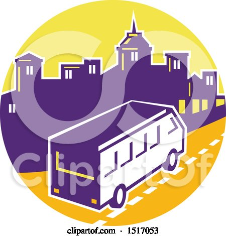 Clipart of a Retro Tour Bus in a Town Skyline Circle - Royalty Free Vector Illustration by patrimonio