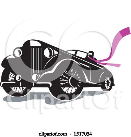 Clipart of a Driver Wearing a Long Purple Scarf in a Vintage Convertible Automobile - Royalty Free Vector Illustration by patrimonio