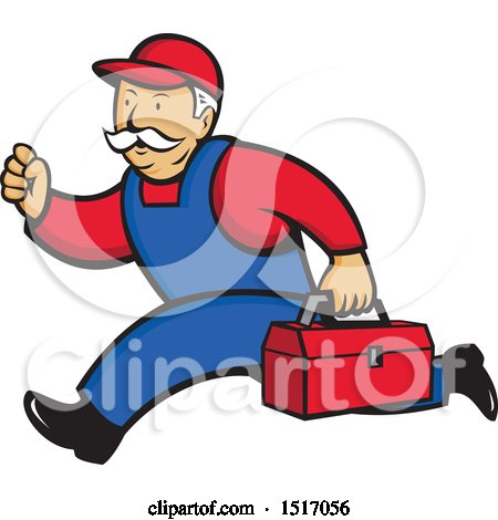 Clipart of a Heating and Air Conditioning Service Technician Man Running - Royalty Free Vector Illustration by patrimonio
