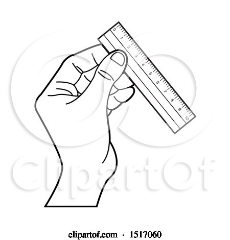 Clipart of a Black and White Hand Holding a Ruler - Royalty Free Vector Illustration by Lal Perera
