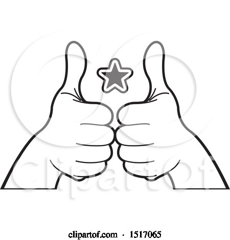 Clipart of a Black and White Star Between Hands Holding up Thumbs - Royalty Free Vector Illustration by Lal Perera