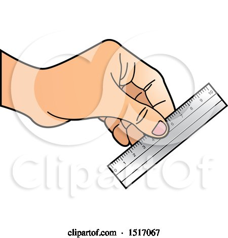 Clipart of a Hand Holding a Ruler - Royalty Free Vector Illustration by Lal Perera