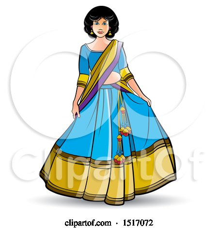 Clipart of a Woman in a Lehenga Skirt - Royalty Free Vector Illustration by Lal Perera
