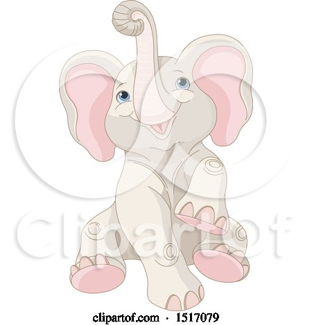 Clipart of a Cute Baby Elephant - Royalty Free Vector Illustration by Pushkin