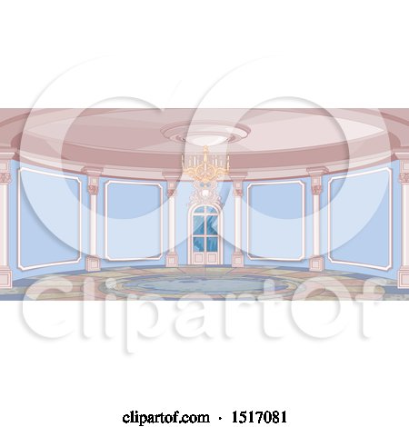 Clipart of a Round Palace Interior - Royalty Free Vector Illustration by Pushkin