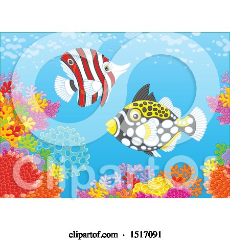 Clipart of a Butterfly Fish and a Clown Triggerfish at a Coral Reef - Royalty Free Vector Illustration by Alex Bannykh
