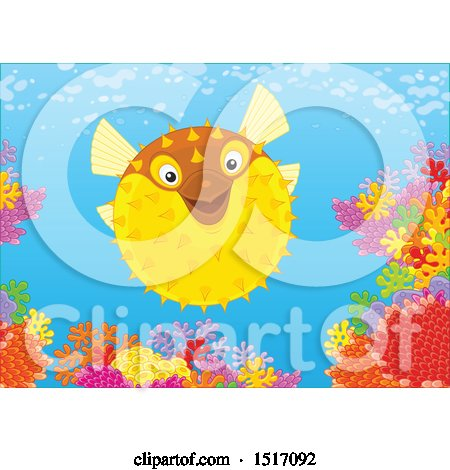 Clipart of a Blowfish at a Coral Reef - Royalty Free Vector Illustration by Alex Bannykh