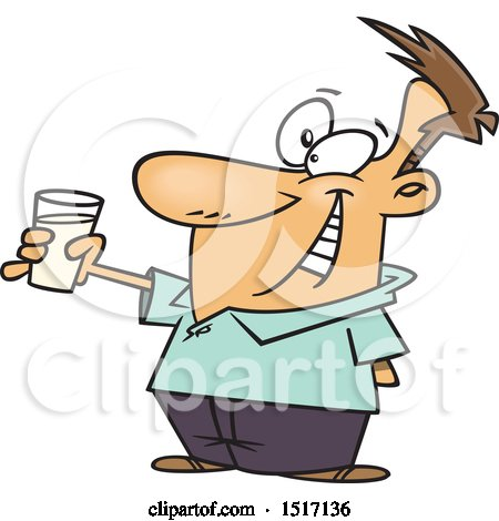 Clipart of a Cartoon Sober White Guy Toasting with Milk - Royalty Free Vector Illustration by toonaday