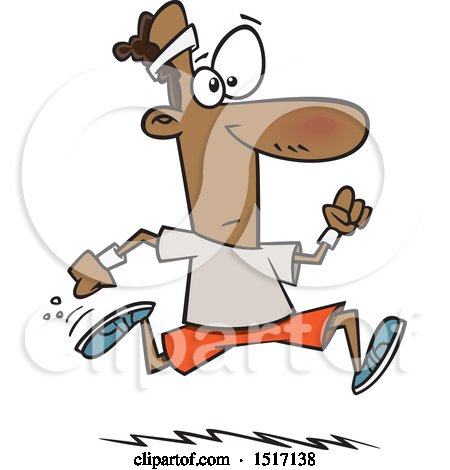 Clipart of a Cartoon Black Guy Running - Royalty Free Vector Illustration by toonaday