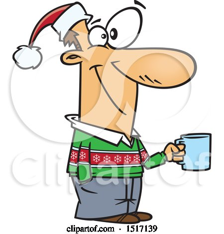 Clipart of a Cartoon Guy Wearing a Christmas Sweater and Santa Hat and Holding a Coffee Cup at a Party - Royalty Free Vector Illustration by toonaday