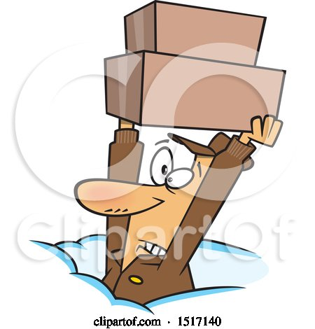 Clipart of a Cartoon Dedicated White Delivery Guy Holding up Boxes in the Snow - Royalty Free Vector Illustration by toonaday