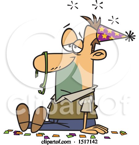Clipart of a Cartoon Hung over White Guy After a New Years Party - Royalty Free Vector Illustration by toonaday
