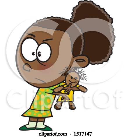 Clipart of a Cartoon Selfish Girl Refusing to Share a Doll - Royalty Free Vector Illustration by toonaday