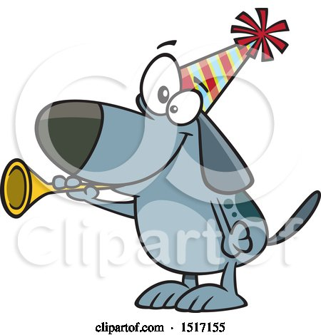 Clipart of a Cartoon New Years Dog Blowing a Horn - Royalty Free Vector Illustration by toonaday
