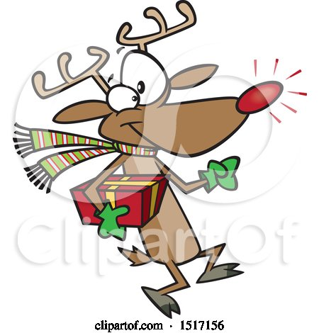 Clipart of a Cartoon Rudolph Reindeer Carrying a Christmas Present - Royalty Free Vector Illustration by toonaday