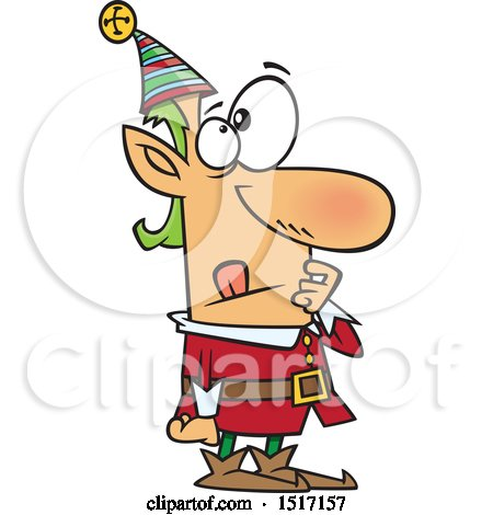 Clipart of a Cartoon Christmas Elf in Thought - Royalty Free Vector Illustration by toonaday