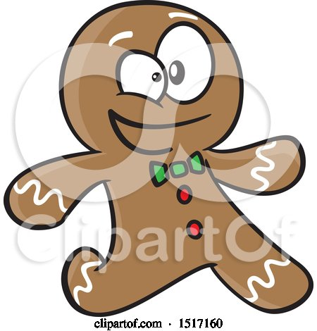 Clipart of a Cartoon Gingerbread Man Running - Royalty Free Vector Illustration by toonaday