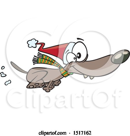 Clipart of a Cartoon Festive Christmas Dog Running in a Santa Hat and Scarf - Royalty Free Vector Illustration by toonaday