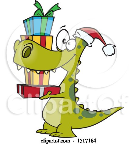 Clipart of a Cartoon Dinosaur Wearing a Santa Hat and Carrying Christmas Gifts - Royalty Free Vector Illustration by toonaday