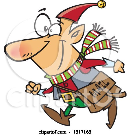 Clipart of a Cartoon Christmas Elf with a Mail Pouch - Royalty Free Vector Illustration by toonaday