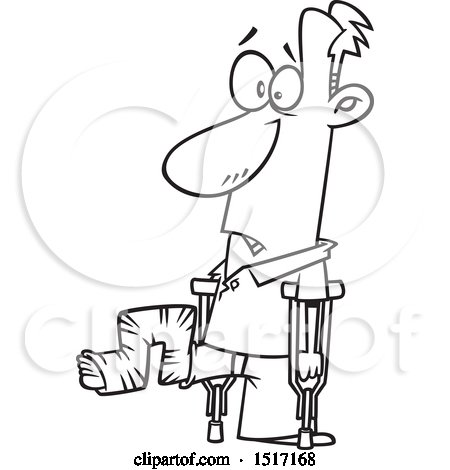 Clipart of a Cartoon Lineart Guy with His Leg in a Crazy Cast - Royalty Free Vector Illustration by toonaday