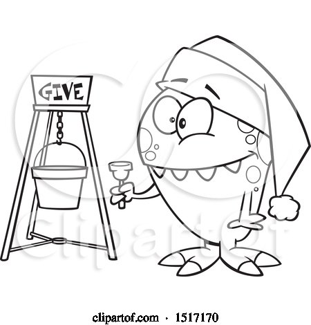 Clipart of a Cartoon Lineart Happy Monster Bell Ringing for Charity - Royalty Free Vector Illustration by toonaday