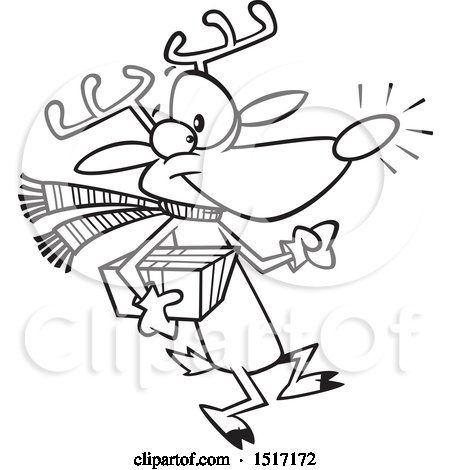 Clipart of a Cartoon Lineart Rudolph Reindeer Carrying a Christmas Present - Royalty Free Vector Illustration by toonaday