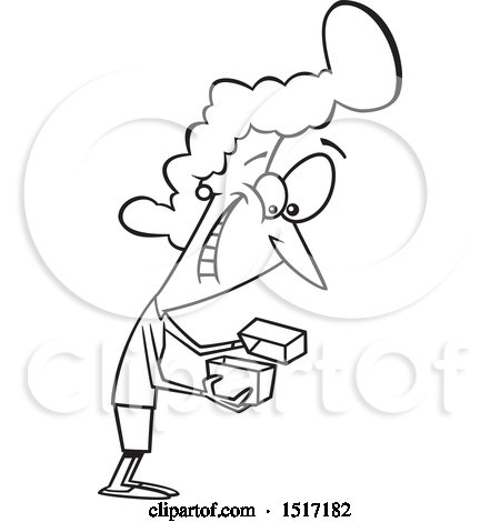 Clipart of a Cartoon Lineart Woman Enthused About a Gift - Royalty Free Vector Illustration by toonaday