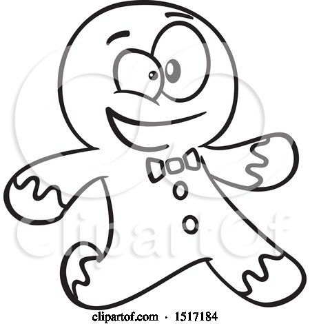 Clipart of a Cartoon Lineart Gingerbread Man Running - Royalty Free Vector Illustration by toonaday