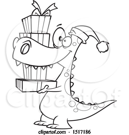 Clipart of a Cartoon Lineart Dinosaur Wearing a Santa Hat and Carrying Christmas Gifts - Royalty Free Vector Illustration by toonaday