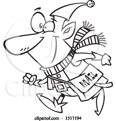 Clipart of a Cartoon Lineart Christmas Elf with a Mail Pouch - Royalty Free Vector Illustration by toonaday