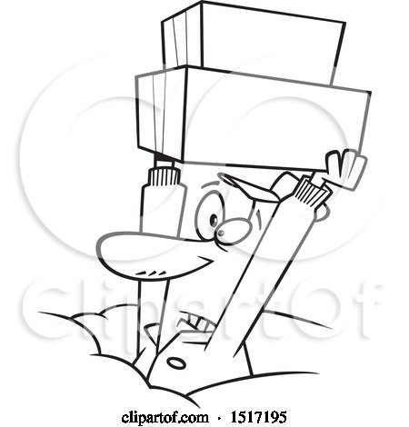 Clipart of a Cartoon Lineart Dedicated Delivery Guy Holding up Boxes in the Snow - Royalty Free Vector Illustration by toonaday