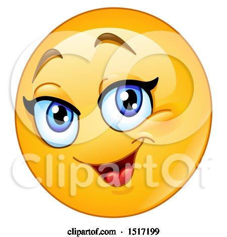 Clipart of a Yellow Happy Female Emoji - Royalty Free Vector Illustration by yayayoyo