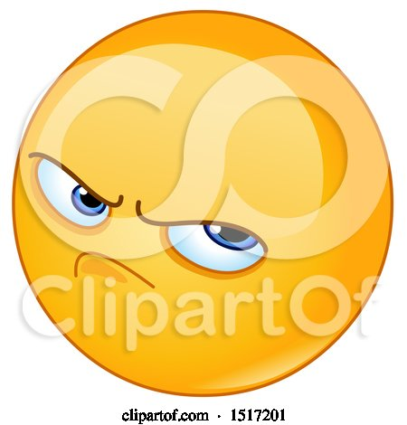 Clipart of a Yellow Pissed off Emoji - Royalty Free Vector Illustration by yayayoyo