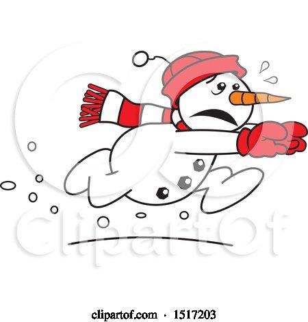 Clipart Of A Winter Snowman Slam Dunking A Basketball Over