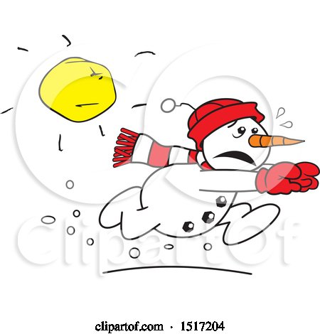 Clipart of a Cartoon Snowman Running from the Sun - Royalty Free Vector Illustration by Johnny Sajem