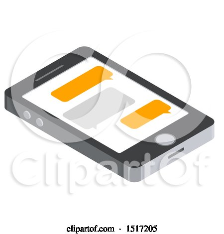 Clipart of a 3d Smart Phone with Text Messages Icon - Royalty Free Vector Illustration by beboy