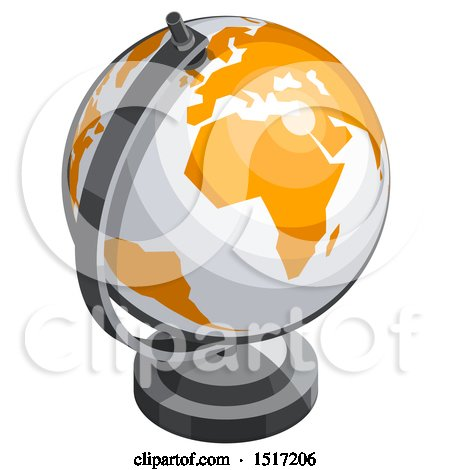 Clipart of a 3d White and Orange Desk Globe Icon - Royalty Free Vector Illustration by beboy