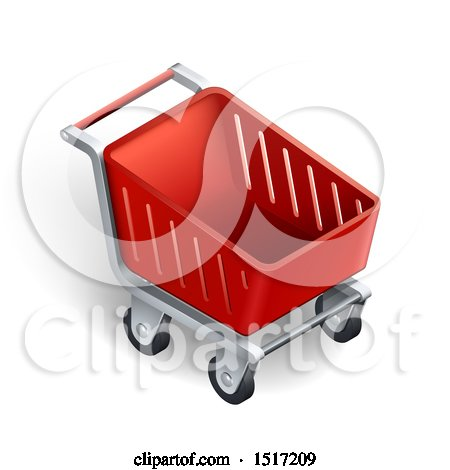 Clipart of a 3d Red Shopping Cart - Royalty Free Vector Illustration by beboy