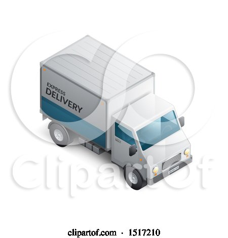 Clipart of a 3d Delivery Truck - Royalty Free Vector Illustration by beboy